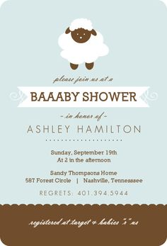 Blue And Brown Sheep Boy Baby Shower Invite by PurpleTrail.com