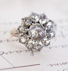 Georgian Rose-Cut Diamond Cluster Engagement Ring, $5,400.00