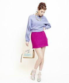 BONICA DOT(ボニカドット)のカラーコクーンスカート(スカート)|ピンク