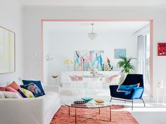 white pink colour selection living room