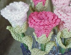 Rose Flower Pattern  Lovely Crochet Stem by PrairieHandmade