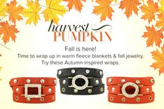 Get wrapped up in the colors of Fall!  #justjewelry #jewelry #fashionjewelry #fashionaccessories #fallfashion #wrapbracelet #autumninspired