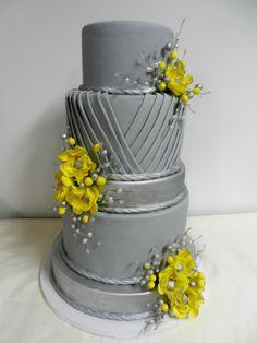 Gray and yellow wedding cake Cheesecake Etc.