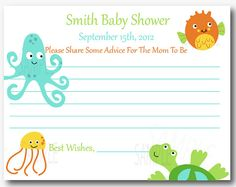 Sea Pals Baby Shower Advice Cards  Set of 12 by PenguinPartyPress, $9.99