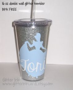 Personalized Princess Silhouette Acrylic Glitter Tumbler Cup - Princess Birthday Party Favors - Bridal Party - Girls Weekend - Gift on Etsy, $15.00