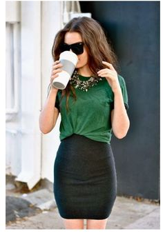 Pencil skirt and green