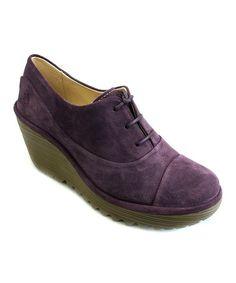 Look at this #zulilyfind! Purple Suede Yif Wedge Bootie #zulilyfinds
