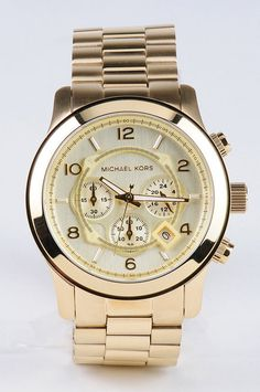 Michael Kors Watches : oversized gold chronograph watch