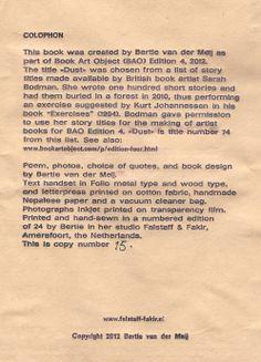 DUST, artist book by Bertie van der Meij. Falstaff & Fakir Private Press 2012.