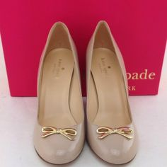 Kate Spade Wedges These are nude patent Late Spade wedges with front gold bow and box. kate spade Shoes