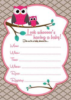 Baby shower invitation baby owl for girl diy printable pink baby shower invitation baby owl for girl diy printable pink orange 1250 via etsy stacys baby shower pinterest baby owl filmwisefo