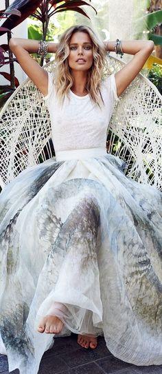 ╰☆╮Boho chic bohemian boho style. Cmiseta basica con faldas vaporosas de estampados suaves,un toque chic para tardes de verano especiales. ╰☆╮
