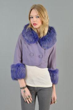 Purple fox fur & wool crop blazer @bustownmodern