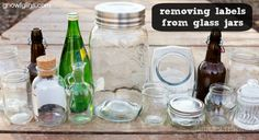 Removing Labels from Glass Jars | My friend Jami has another tip to share with us. She saves jars and containers for her own purposes and shares how she easily removes labels, whether paper or sticky adhesive. | GNOWFGLINS.com