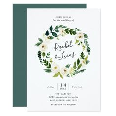 Alabaster Floral Wreath Wedding Invitation #floralweddinginvitation #floral #weddinginvitation #floralinvitation #flowers #watercolorfloral