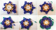 beaded earrings tutorial - 2 you can stop at many places for different looks Beading Patterns Free, Seed Bead Patterns, Seed Bead Flowers, Beaded Flowers, Beading Projects, Beading Tutorials, Seed Bead Crafts, Beaded Jewelry Designs, Native Beadwork