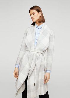 Széles hajtókás kabát, bekevert gyapjúból - Női | MANGO Magyarország