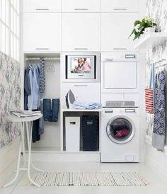Mini White Laundry Room Cabinets — Erdexon.