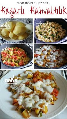 Potatoes with Cheddar - Delicious Recipes Homemade Enchilada Sauce, Homemade Enchiladas, Turkish Recipes, Ethnic Recipes, Cheddar Potatoes, Turkish Breakfast, Breakfast Potatoes, Breakfast Recipes, Chicken Recipes