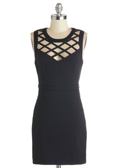 Lattice and Harmony Dress. Tonights main event takes place on the dance floor, so harmonize your style with this pocketed, black sheath dress. #black #modcloth