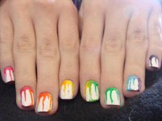 make-up, nails, nail polish, rainbow, drips, paint drips