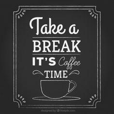 Lettering Tempo do café no quadro-negro