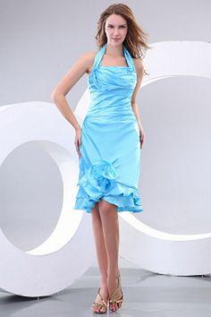Modern Blue Satin Halter Neckline A-line Knee Length Homecoming Dresses With Ruffled Hem Silhouette, Cute Homecoming Dresses, Ruffle Fabric, Short Cocktail Dress, Cocktail Dresses, Gaines, Evening Dresses, Formal Dresses, Blue Satin