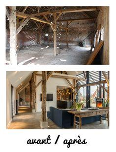 Before / After work of transformation of a barn into loft. Avant / Après travaux de la transformation d& grange en loft. Before / After work of transformation of a barn into loft.