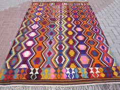"Anatolia Turkish Antalya (Barak) Kilim 66,1"" x 95,6"" Area Rug Kelim Carpet Wool #Turkish"