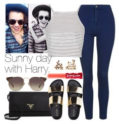 """Sunny day with Harry."" by welove1 ❤ liked on Polyvore featuring Prada, Topshop, Linda Farrow, Lime Crime, Forever 21, women's clothing, women, female, woman and misses"