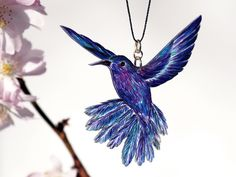 Necklace bird drawing - VIOLET SABREWING - newly-made article - ooak -