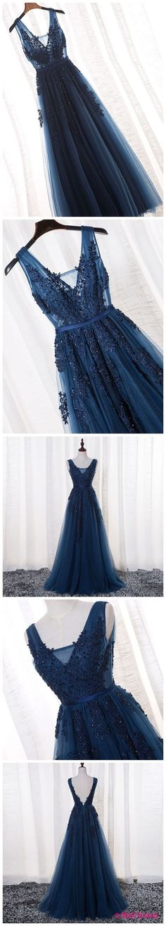 Prom Dresses For Teens, A-Line V-neck Floor length Tulle Prom Dresses Formal Gowns Dresses Modest Prom Dresses For Teens, Homecoming Dresses, Cheap Dresses, Pretty Dresses, Beautiful Dresses, Elegant Dresses, Beaded Prom Dress, Tulle Dress, Knit Dress
