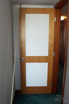 How to Add Molding Panels to a Flat Door - Pretty Handy Girl Door Redo, Door Makeover, Diy Door, Beadboard Wainscoting, Hollow Core Doors, Old Doors, Paint Colors For Home, Panel Doors, Home Renovation