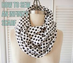 How to Make an Infinity Scarf - Shrimp Salad Circus; if you've ever been confused by other tutorials on this technique (and, really, who hasn't?), this outstanding tutorial shows the process very clearly.  Beginner sewers and those who haven't made an infinity scarf before, here is the tutorial you should use!