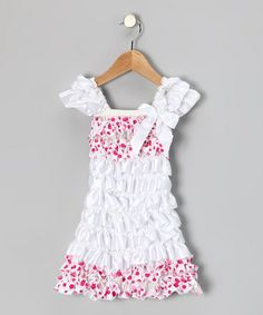 Take a look at this White & Pink Polka Dot Satin Ruffle Dress - Toddler & Girls by Royal Gem Clothing on #zulily today!