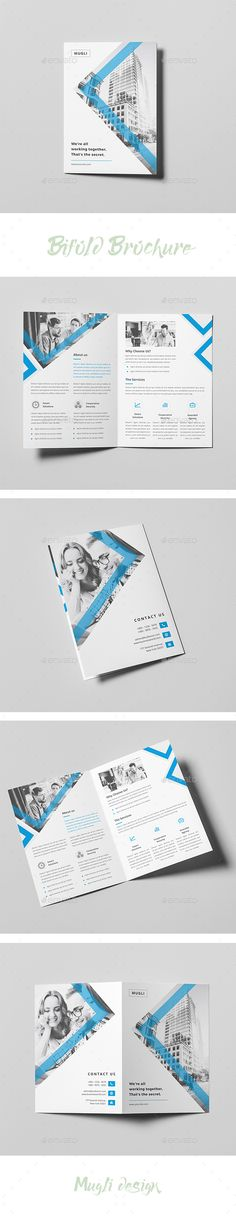 Bifold Brochure — InDesign INDD #blue #mugli • Available here → https://graphicriver.net/item/bifold-brochure/19998010?ref=pxcr