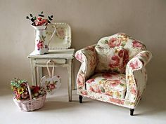 ♡ I HEART THE OLD LADY CHAIR! MUST MAKE A PATTERN FOR THAT SHAPE AND FIND TINY ROSE PATTERN FABRIC