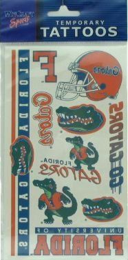 University of Florida Gators NCAA licensed Temporary Tattoos Sheet by WinCraft. $2.99. Temporary Tattoos can be removed with soap and water. Full color. 10 individual tattoos on 1 sheet. Easy to apply, easy to remove. Officially licensed product by the NCAA and University of Florida