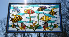 """35"""" x 21"""" Tiffany Style stained glass window panel Tropical Fish under the Sea"""
