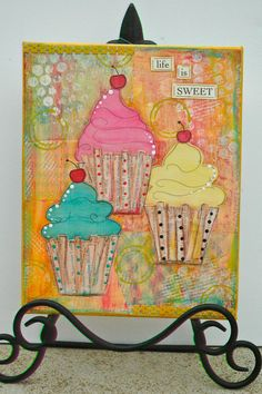 Life is Sweet Cupcake 8 x 10 Mixed Media by HazelsAtticDesigns