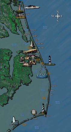 Outer Banks activities map I love the Outer Banks. North Carolina Map, North Carolina Vacations, Outer Banks North Carolina, Outer Banks Nc, Outer Banks Vacation, Rodanthe North Carolina, North Carolina Lighthouses, Vacation Places, Vacation Spots