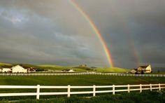 Houses & rainbow.