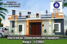 Get the best 14 House Front Elevation Designs and Plans for single floor houses from one of the leading home architects and interior designers in India, Acha Homes. House Front Wall Design, House Balcony Design, Single Floor House Design, Best Modern House Design, Village House Design, Bungalow House Design, House Design Photos, Single Storey House Plans, One Storey House