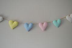 Pastel heart garland / bunting / polka dot / fabric / padded / hessian twine / home decor / nursery / girl's room by BuntinginaBox on Etsy