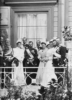 Tsar Nicholas II and Tsarina Alexandra with member of the imperial family.