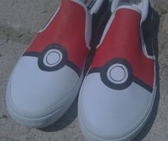 Hand Painted Pokeball Vans Slip On Shoes by SceeneShoes on Etsy, $80,00