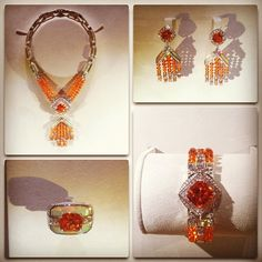 @Louis Vuitton Official's Chain Attraction High Jewellery set dazzles in tangerine Mandarin garnet #lv #pfw #fashionweek
