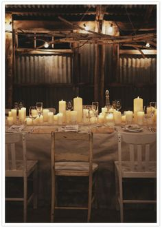 Rustic Tablescape with Pillar Candles