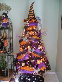Halloween tree, we decorate our tree for every season!!