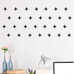 Set of 60 Mini Plus Sign Wall Stickers Decal Vinyl Art Decor cross